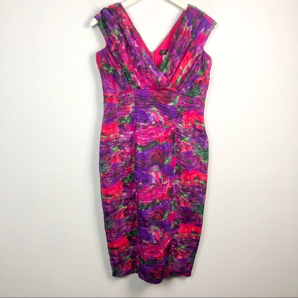 Tadashi Shoji Dresses & Skirts - Tadashi Shoji silk floral pleat V-neck midi dress